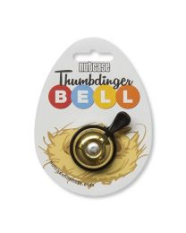 Nutcase Thumbdinger Bell Brass Bling on cardboard